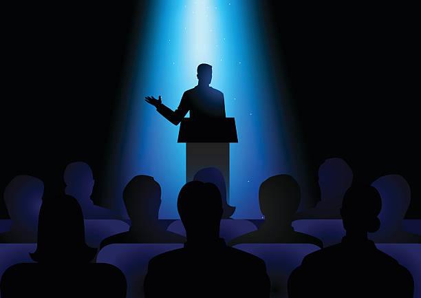 ilustrações, clipart, desenhos animados e ícones de man giving a speech on stage - político