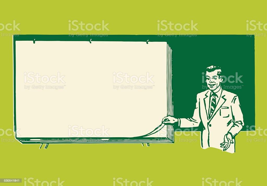 Man Giving Presentation by Blank Paper vector art illustration