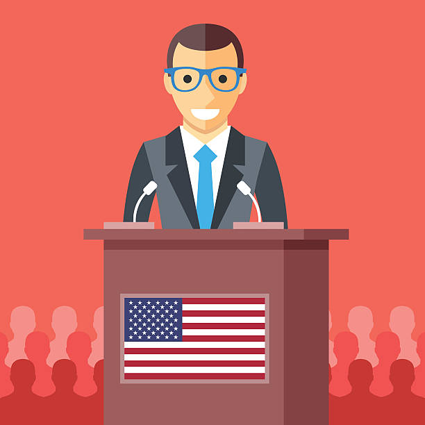 man giving speech at rostrum with american flag. vector illustration - inauguration stock illustrations