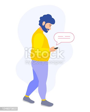 A man with a phone in his hands is walking and chatting. A busy man received a message and reads it on the go. Vector in flat style. Template on the topic of social networks and online communication.