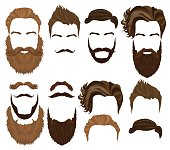 Man hair mustache and beards collection. Men Hipster realistic fashion retro elements