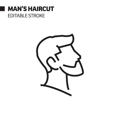 Man Haircut Line Icon, Outline Vector Symbol Illustration. Pixel Perfect, Editable Stroke.