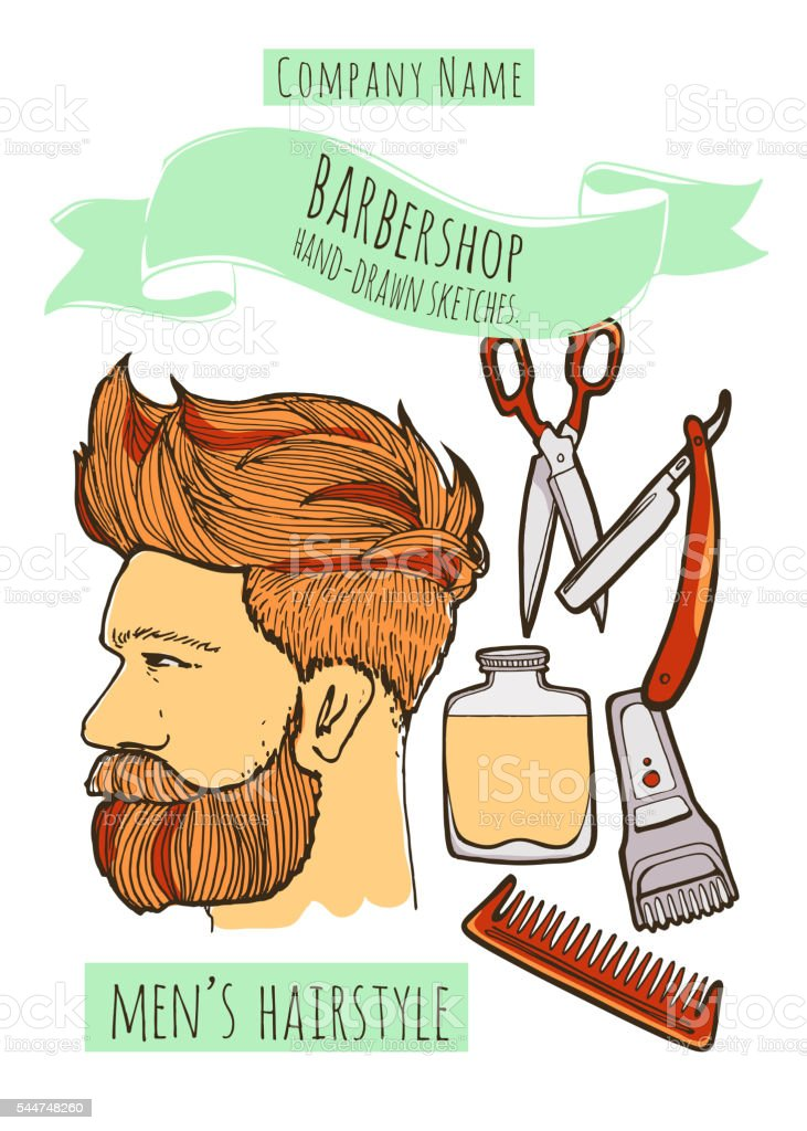 Man hairstyle. Barbershop background. vector art illustration