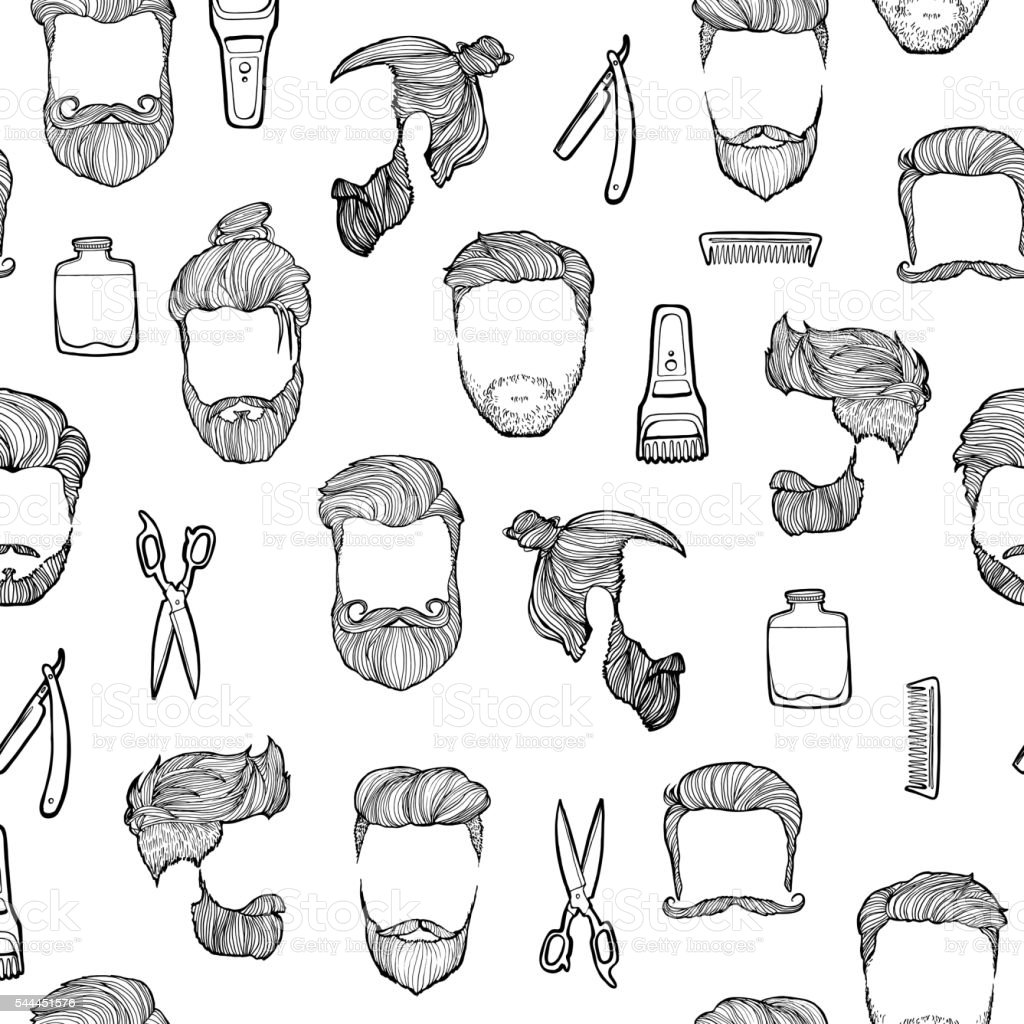 Man hairstyle. Set of hand-drawn sketches. Barbershop. vector art illustration