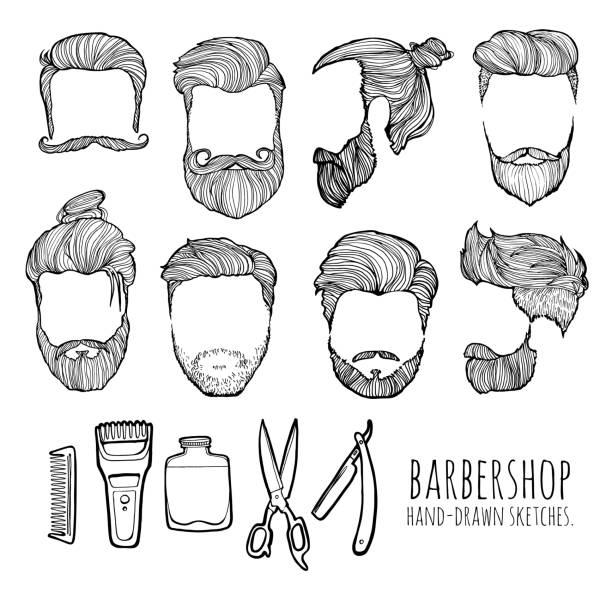 Man hairstyle. Set of hand-drawn sketches. Barbershop. vector art illustration