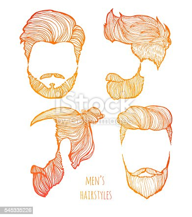 Man Hairstyle Set Of Handdrawn Sketches Stock Vector Art More