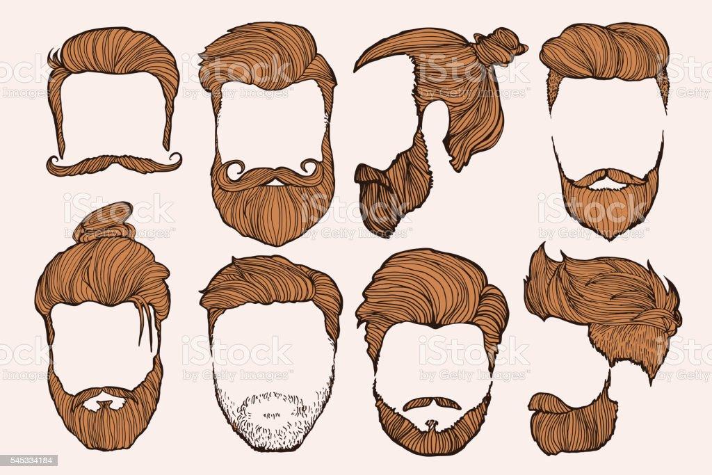 Homem cabelo. Conjunto de rascunhos desenhados à mão. Ilustração vetorial. - ilustração de arte em vetor