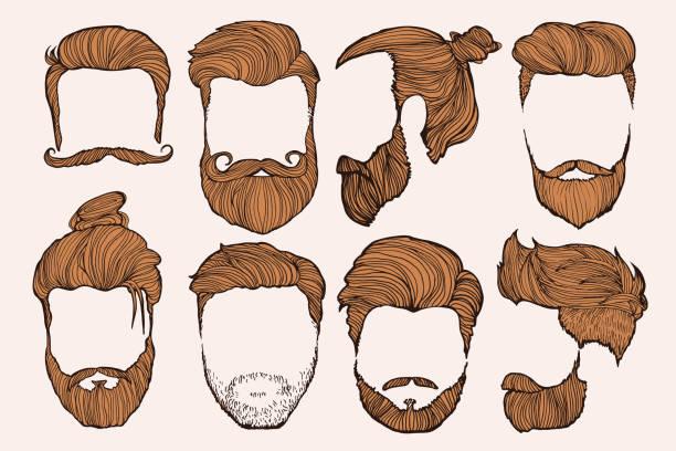 stockillustraties, clipart, cartoons en iconen met man hairstyle. set of hand-drawn sketches. vector illustration. - baard