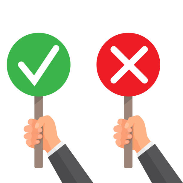 Man hand hold signboard green check mark and red X Man hand hold signboard green check mark and red X. Business concept. Right and Wrong for feedback. Vector illustration accuracy stock illustrations