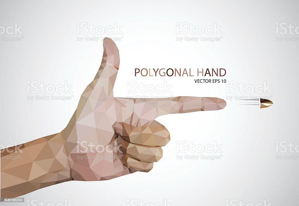 Man hand sign gun on white background vector vector art illustration
