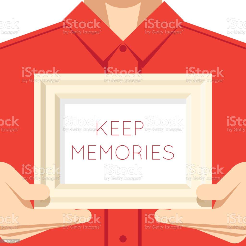 Homme mains tenir Photo Picture peinture dessin filaire modèle à écran plat - Illustration vectorielle