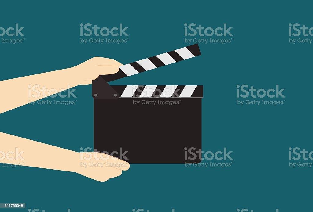 Man Hands Holding Cinema Clapper Board vector art illustration