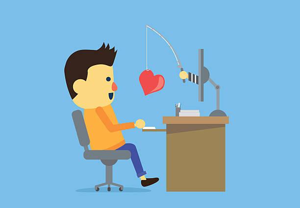 stockillustraties, clipart, cartoons en iconen met man have been online deception - flirten