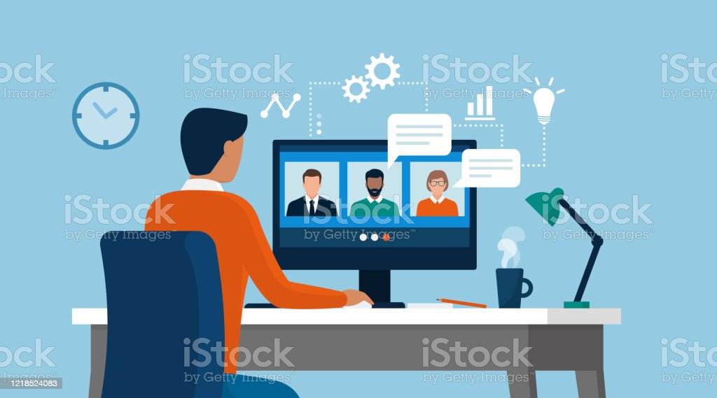 Man having a conference call with his business team online - Royalty-free Adult stock vector