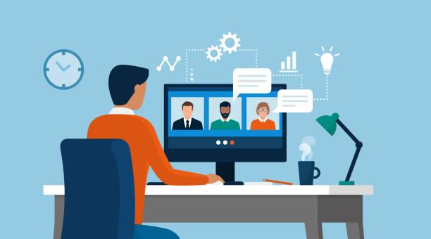 ilustrações, clipart, desenhos animados e ícones de homem tendo uma teleconferência com sua equipe de negócios on-line - business man