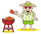 man having barbecue in the summer