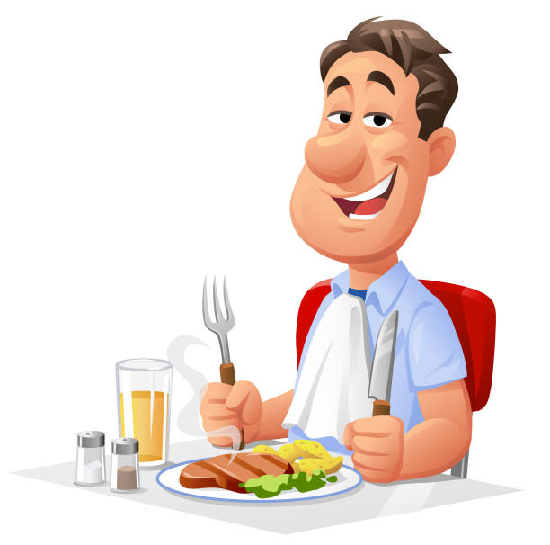 Man Having Lunch Vector illustration of a young man sitting at a dining table eating a delicious steak for lunch. Concept for eating, nutrition, eating meat, single households, balanced meals and healthy lifestyles. looking at camera stock illustrations