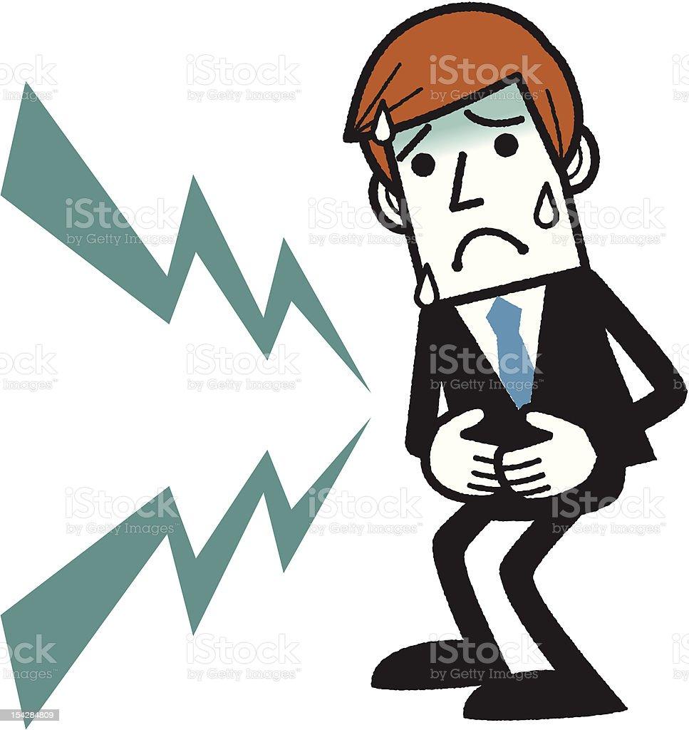 Man having stomachache vector art illustration
