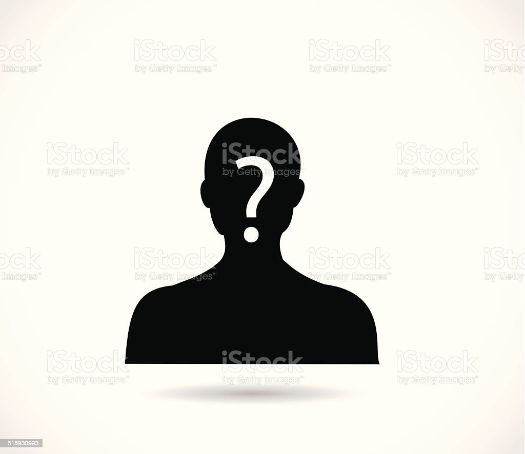 Man head and shoulders silhouette with excalmation mark vector vector art illustration