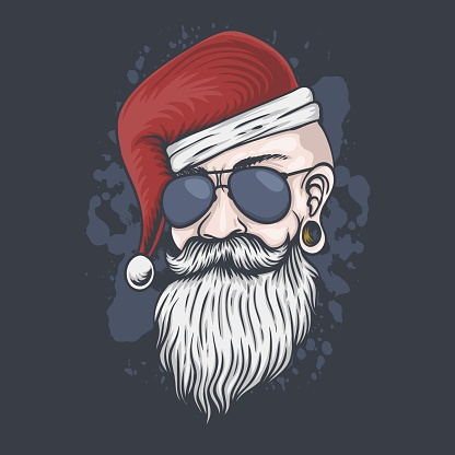 Man head Christmas vector illustration