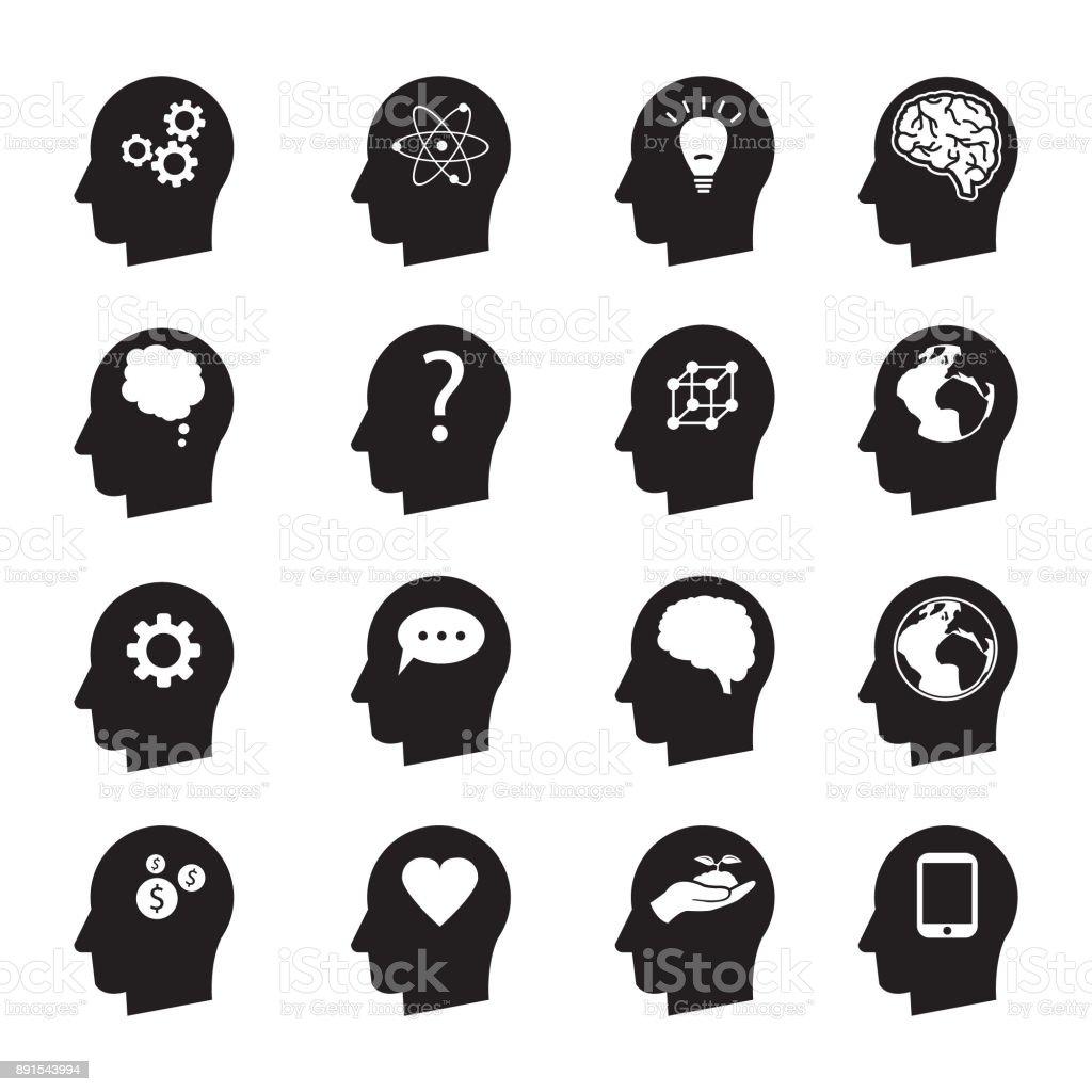 Adam başına düşünme vektör Icon set, ekoloji, para, bağlantı, sevgi ve diğerleri dikkat - Royalty-free Adamlar Vector Art
