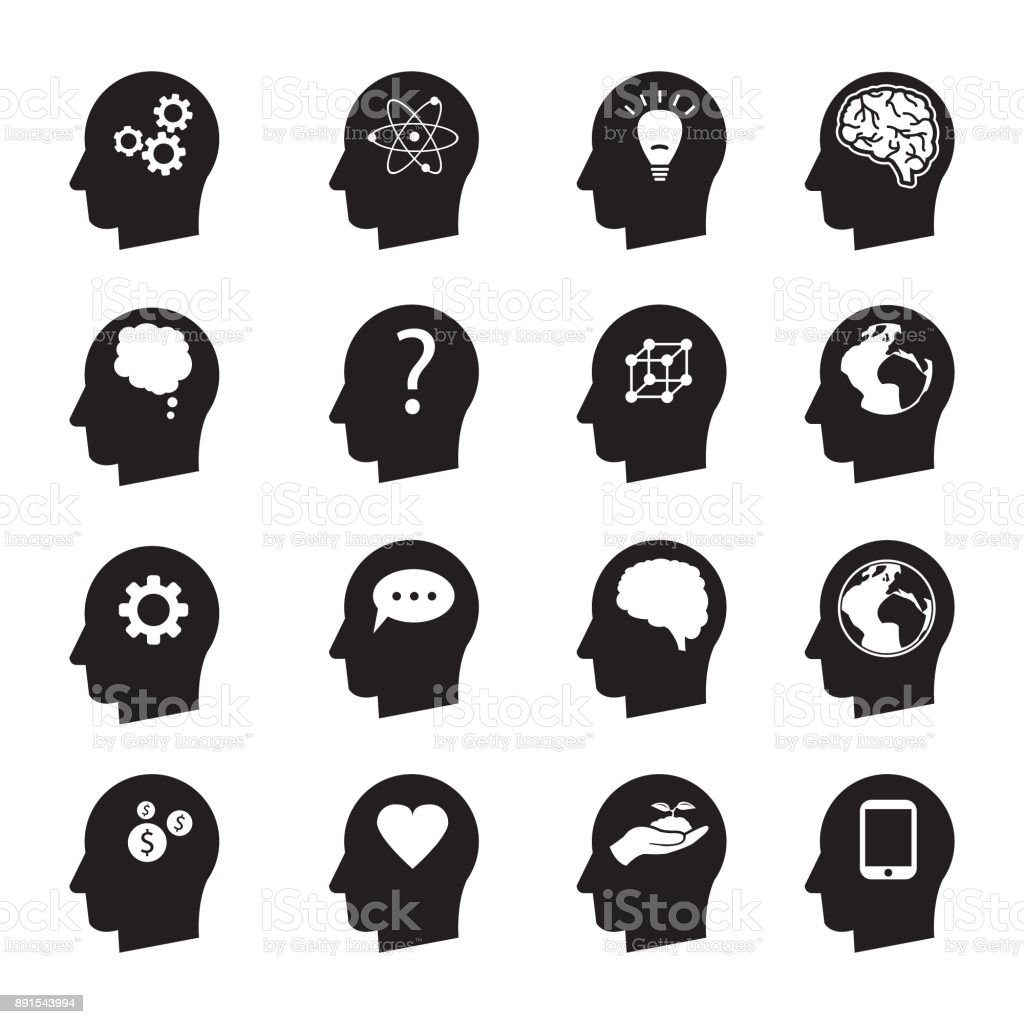 Man head mind thinking vector icon set, ecology, money, connection, love and others