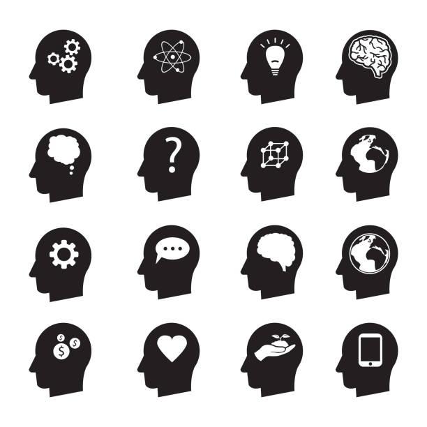 ilustrações, clipart, desenhos animados e ícones de cabeça de homem mente pensar icon set vector, ecologia, dinheiro, conexão, amor e outros - cabeça