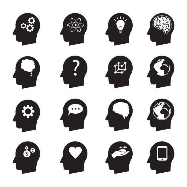 man head mind thinking vector icon set, ecology, money, connection, love and others - language class stock illustrations