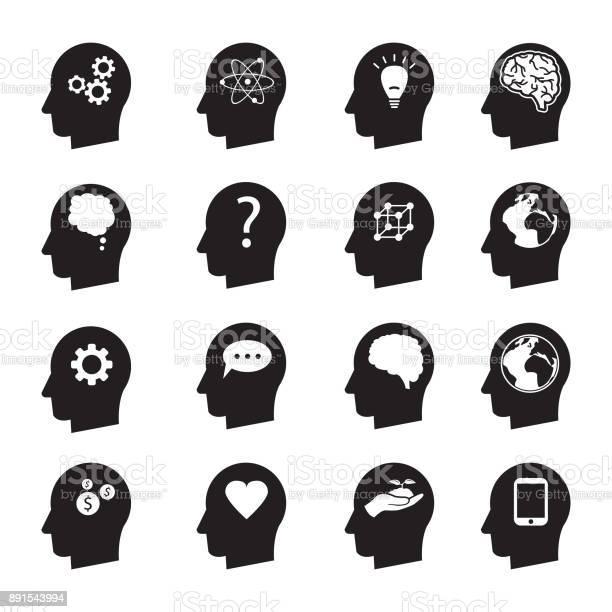 simple vector illustration design of man thinking head set