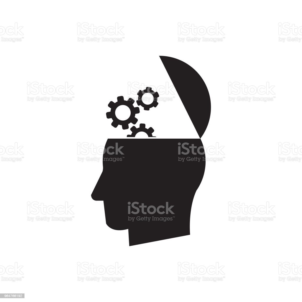 Man head mind with cogs thinking vector icon, open head with cogs icon royalty-free man head mind with cogs thinking vector icon open head with cogs icon stock vector art & more images of abstract