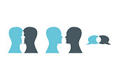 Vector illustration of talking heads. Set of communication icons