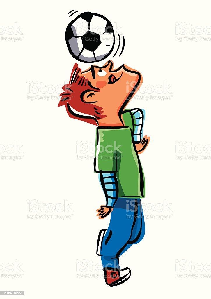 Hombre en dirección una pelota de fútbol - ilustración de arte vectorial