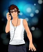 Handsome sexy young man with sunglasses listening music in headphones vector illustration