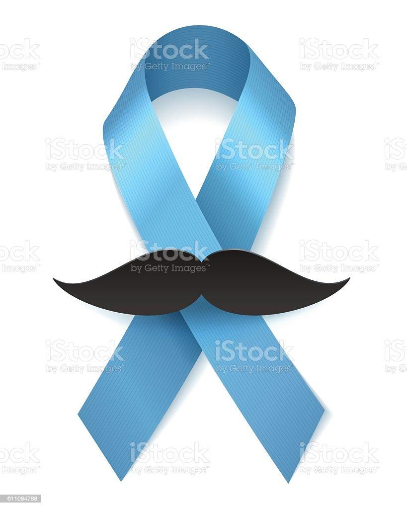 Man health blue ribbon with moustache vector art illustration