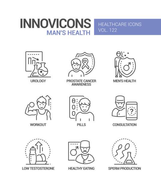 Man health - vector line design style icons set vector art illustration