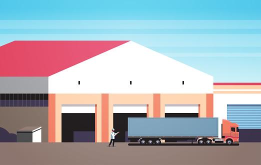 man help big semi truck drive into warehouse parking lots loading ramp logistic center storage exterior horizontal flat