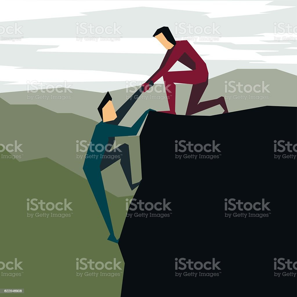 Man helping another man to climb - ilustración de arte vectorial