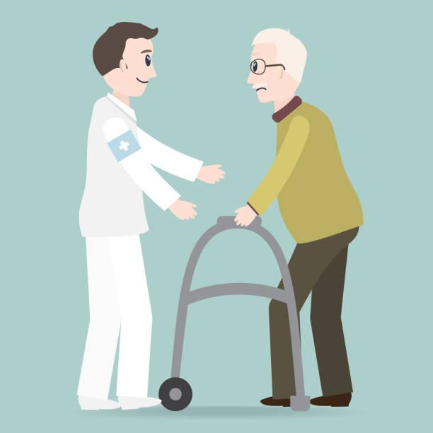 Man helps elderly patient with a walker vector illustration Man helps elderly patient with a walker vector illustration male nurse stock illustrations