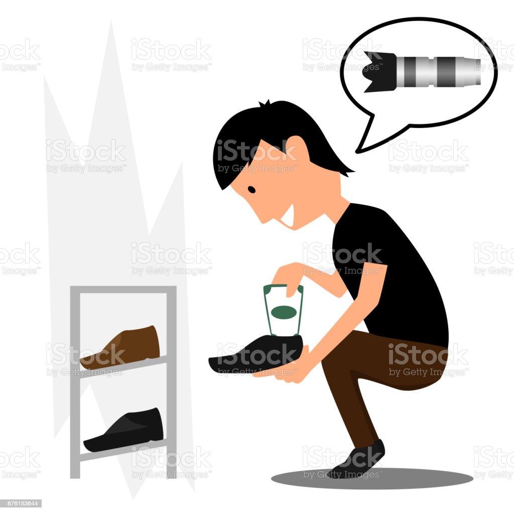 Mann Verstecken Geld Frau In Schuhen Geldvektorillustration Zu