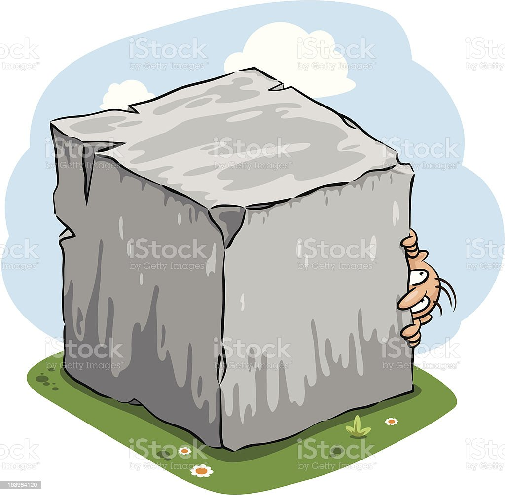 Man hiding behind huge stone block (vector) vector art illustration