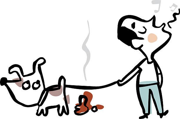 Hombre poniendo, para evitar utilizar su perro's poop - ilustración de arte vectorial