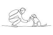 istock Man high-fiving dog 1303863329