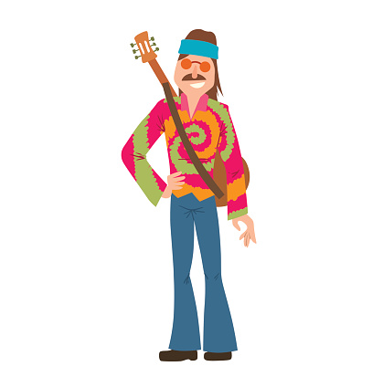 Man hippie with brown hair and mustache