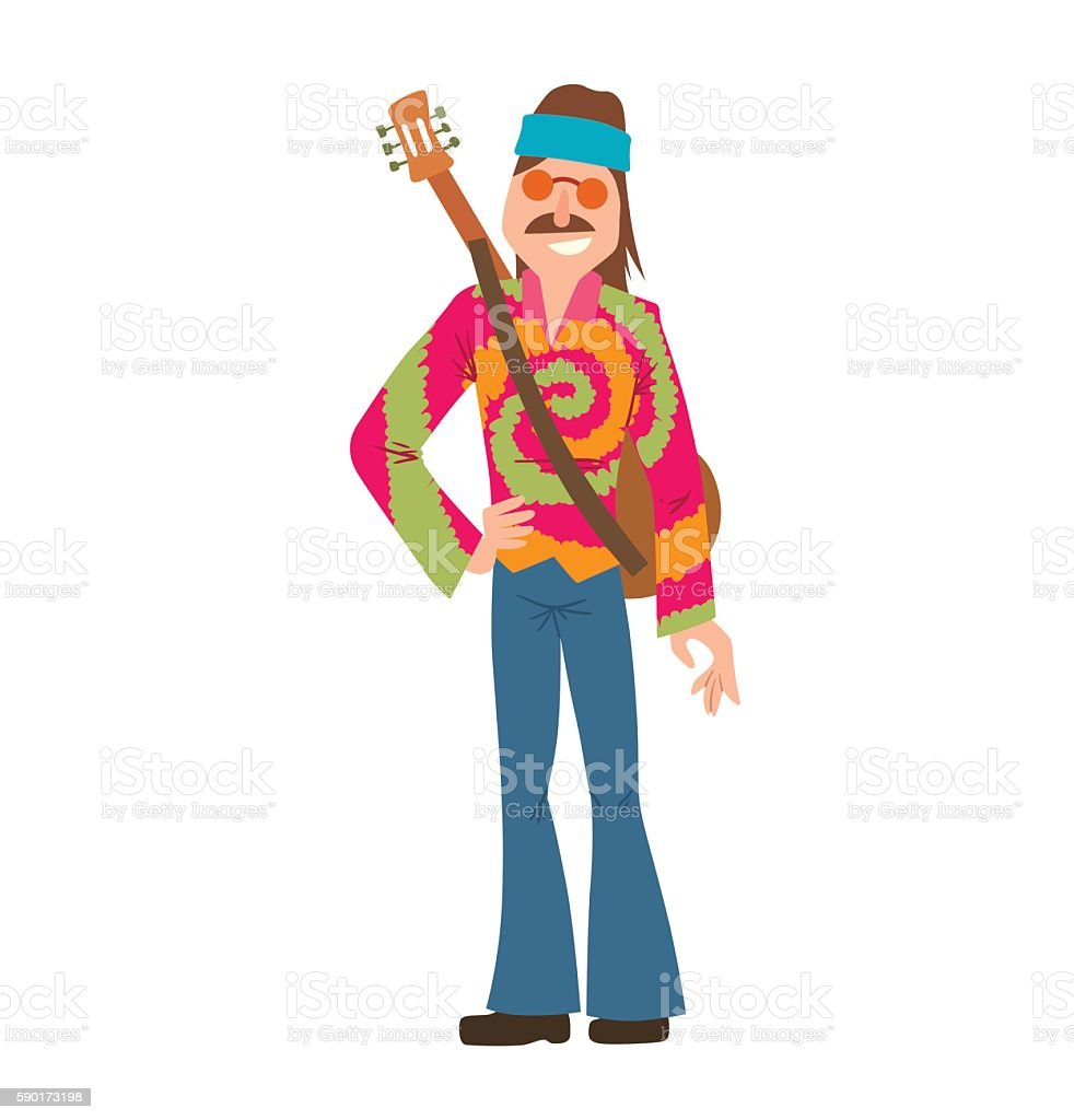 Man hippie with brown hair and mustache vector art illustration