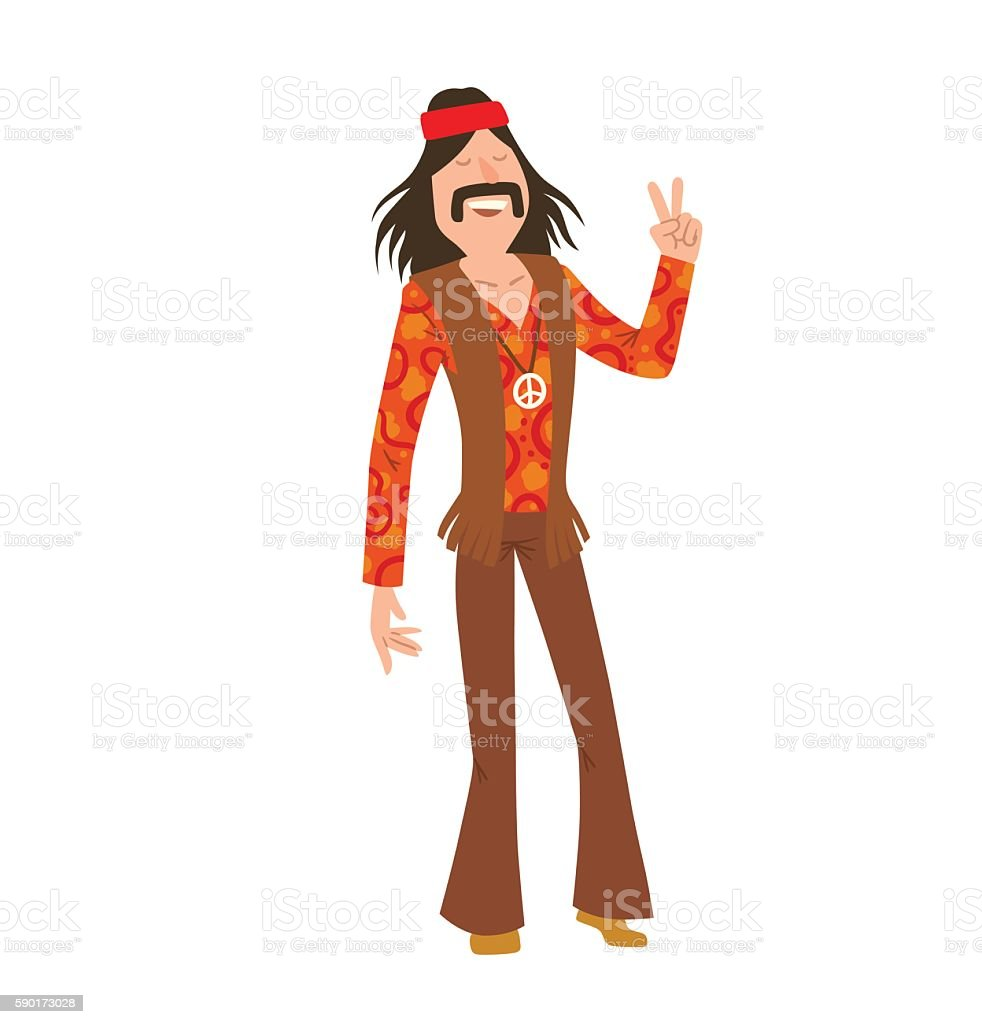 Man hippie with long black hair vector art illustration