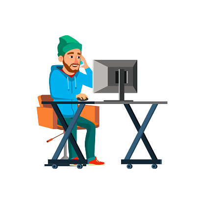 man hipster choosing on computer and ordering technics on phone cartoon vector