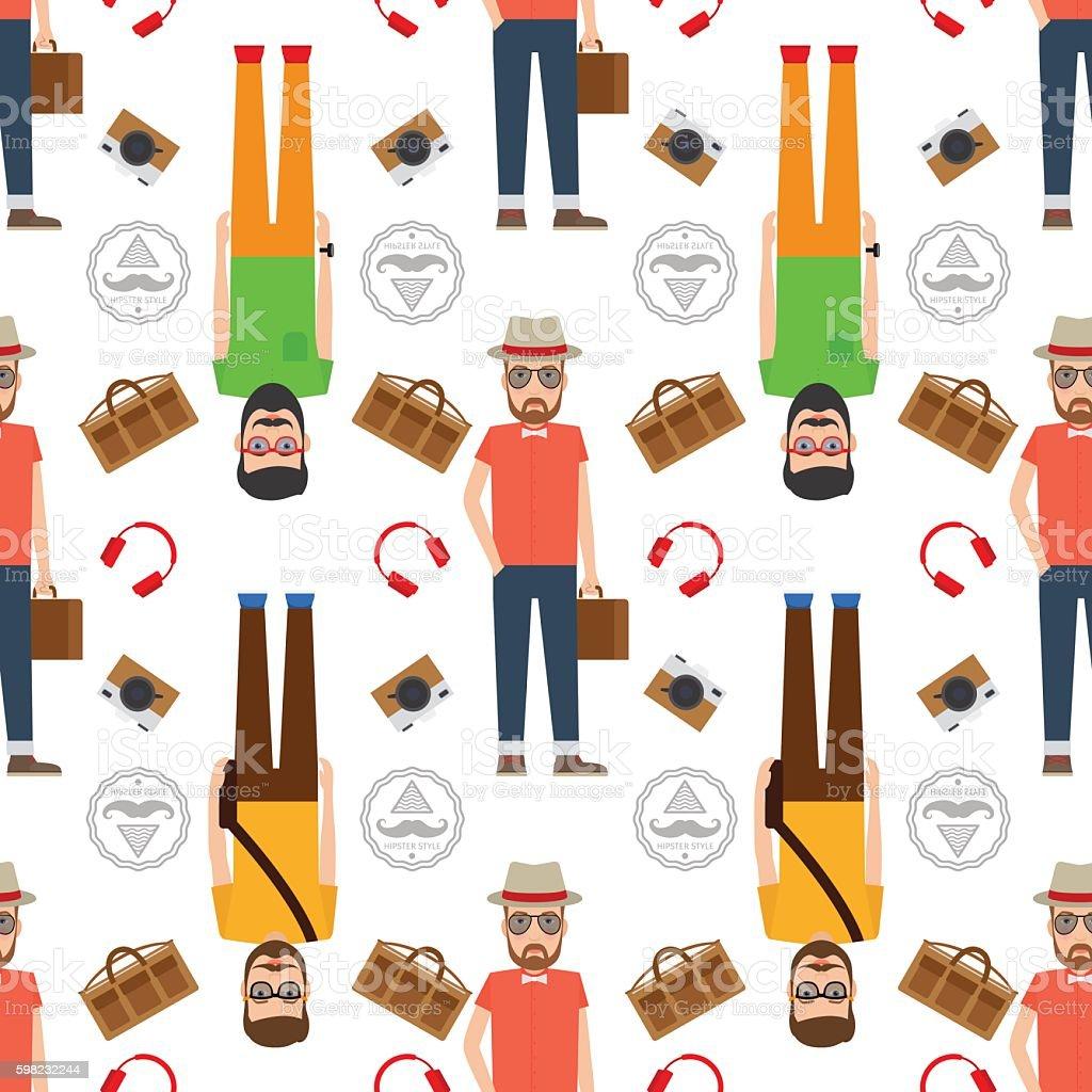 Man hipster flat style seamless pattern ilustração de man hipster flat style seamless pattern e mais banco de imagens de aplicação móvel royalty-free