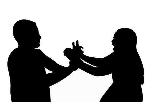 man hitting the woman, silhouette vector - domestic violence stock illustrations
