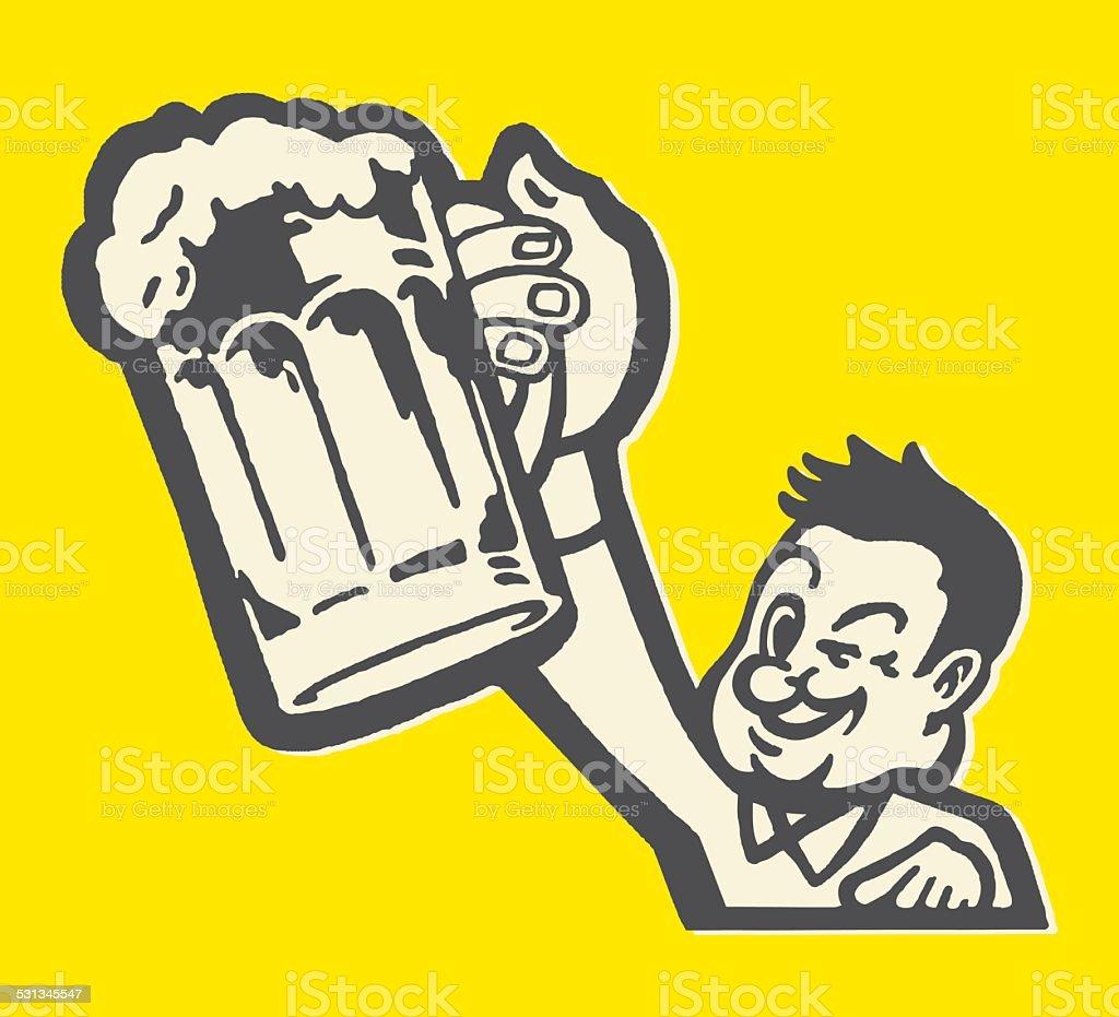 Man Hoisting Beer Mug and Winking vector art illustration