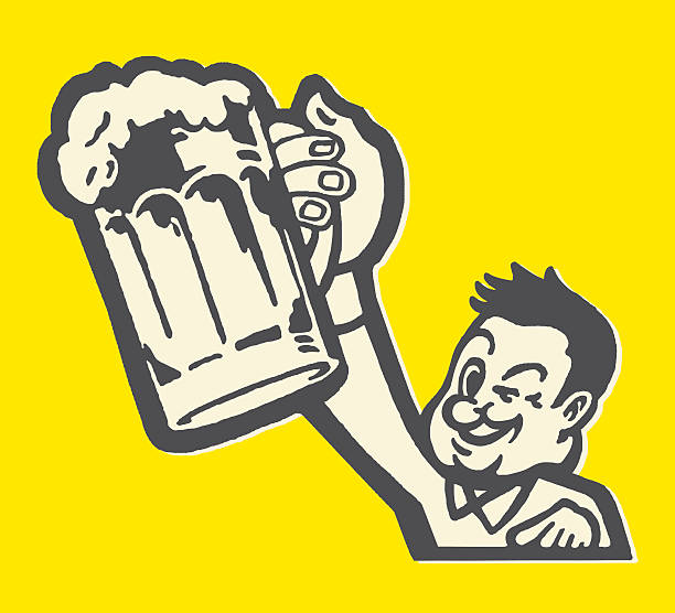man hoisting beer mug and winking - bachelor party stock illustrations, clip art, cartoons, & icons